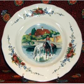 """Assiette creuse """"les chevaux"""" Obernai"""