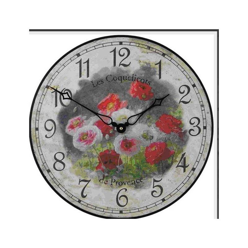 Pendule murale 36cm les coquelicots boutique cellier for Pendules murales decoratives