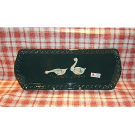 Plat à cake / poterie d'Alsace / oie vert