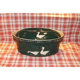 Terrine ovale N° 4 / poterie d'Alsace / oie vert