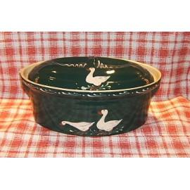 Terrine ovale N° 5 / poterie d'Alsace / oie vert