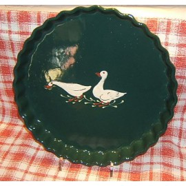 Moule à tarte / poterie d'Alsace / oie vert