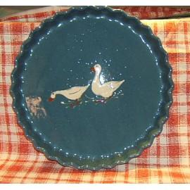 Moule à tarte / poterie d'Alsace / oie bleu