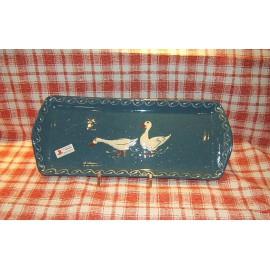 Plat à cake / poterie d'Alsace / oie bleu