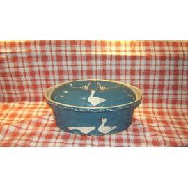 Terrine ovale N° 3 / poterie d'Alsace / oie bleu
