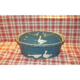 Terrine ovale N° 4 / poterie d'Alsace / oie bleu