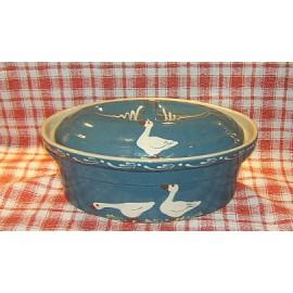 Terrine ovale N° 5 / poterie d'Alsace / oie bleu