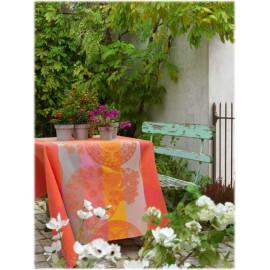 Fleurs gourmandes enduite col. pêche 175x175cm jacquard français