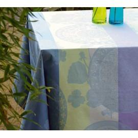 Fleurs gourmandes enduite col. myosotis 175x175cm jacquard français