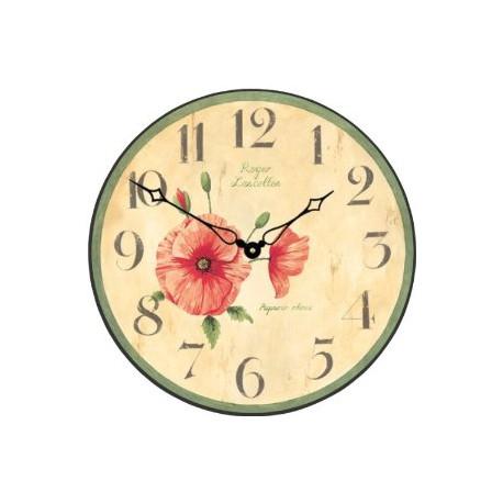 Pendule roger lascelles les coquelicots poppy for Pendules murales decoratives