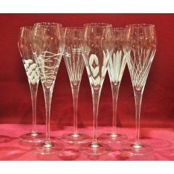 6 Champagne Glasses Silhouette