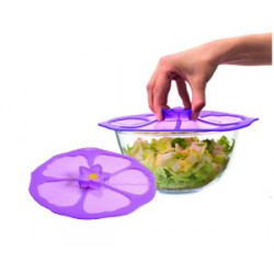 couvercle silicone 28cm hibiscus violet