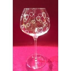 6 verres à vin super 35cl taillé coeurs
