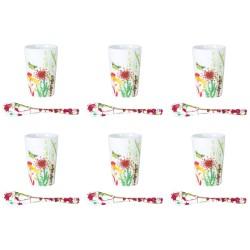 coffret 6 tasses expresso Porcelaine Tutti Fiori