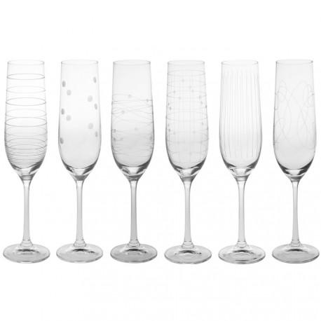 6 Flutes à champagne graphik 19cl