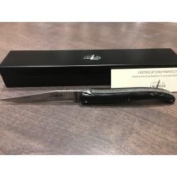 Couteau Forge de laguiole 12cm, manche corne noir, ressort guilloché