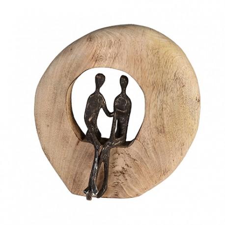 """Sculpture couple support bois """"Casablanca"""""""