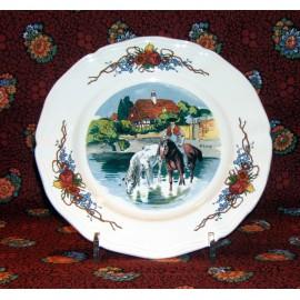 """Assiette dessert """"Les chevaux"""" Obernai"""
