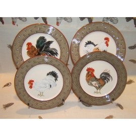 4 Dessert Plates Bronze Court Normande