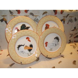 4 Assiettes plates Cour Normande paille