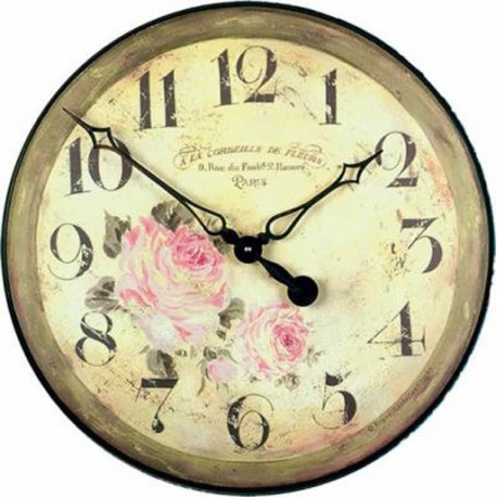 Wall Clock 36Cm Basket Of Flowers