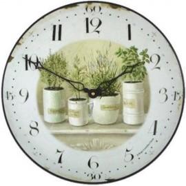 Wall Clock 36Cm Pots And Herbs