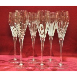 6 flûtes à champagne Super gravure coeurs