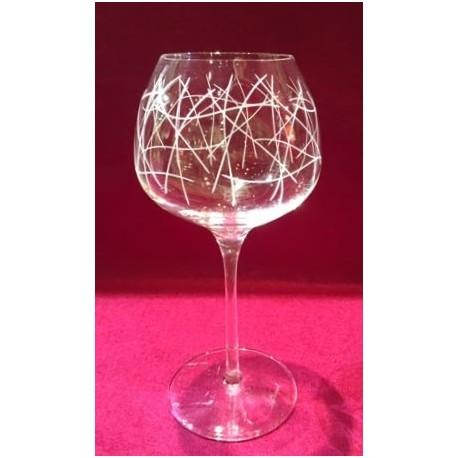 6 verres à vin super 35cl taillé abstrait