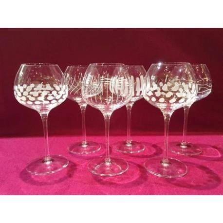 6 verres à vin super 60cl taille coeurs