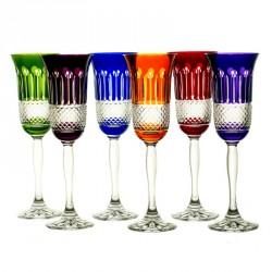 6 Flûtes à champagne couleur taille diamant