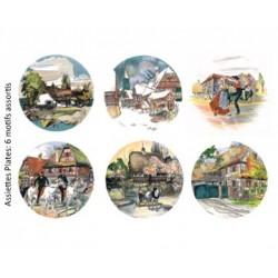 "6 Assiettes Plates ""décors assortis"" Obernai"