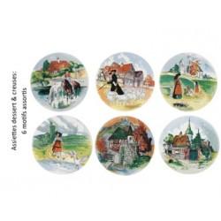 "6 Assiettes creuses ""décors assortis"" Obernai"
