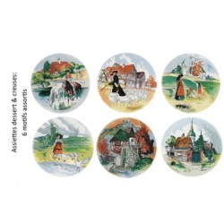 """6 Assiettes dessert """"décors assortis"""" Obernai"""