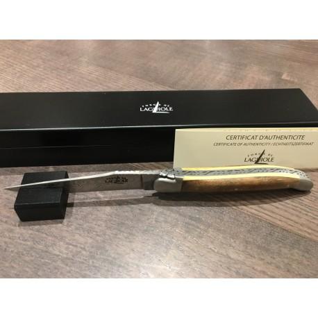 Couteau Forge de laguiole 11cm, manche noyer/buis, lame damas