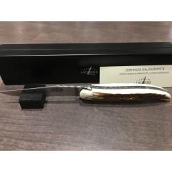 Couteau Forge de laguiole 12cm, manche ivoir de mammouth, ressort guilloché