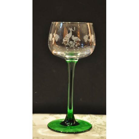 6 Wine Glasses Alsace, Rhine Wine Stork / Vine