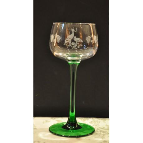 6 verres Alsace décor cigogne vigne