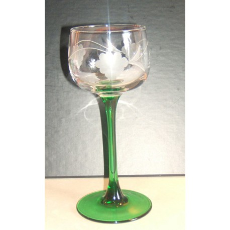 6 Alsace Wine Glasses Hock Cut Grapes