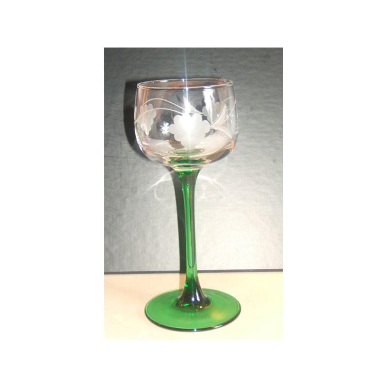 6 verres alsace tradition pied vert gravé raisin