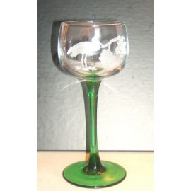 6 Wine Glasses Alsace, Hock Cut Stork