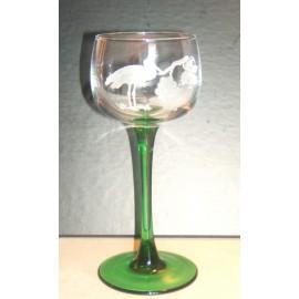 6 verres à vin d'Alsace, vin du Rhin taillés cigogne