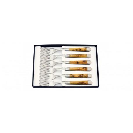 6 fourchettes bois de genévrier Forge de Laguiole