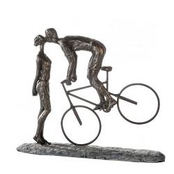 """Sculpture Kiss me, un baiser à vélo """"Casablanca"""""""