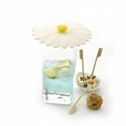 lot de 2 couvre-verres silicone daisy blanc