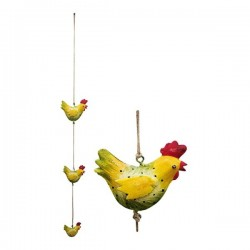 Metal hen garland to hang