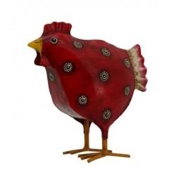 Poule rouge PM en métal