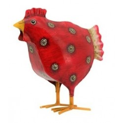metal red hen medium