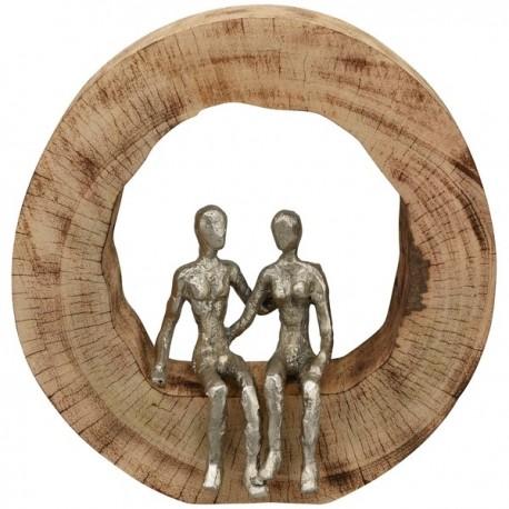 """Sculpture couple, aluminium / manguier  """"Casablanca"""""""