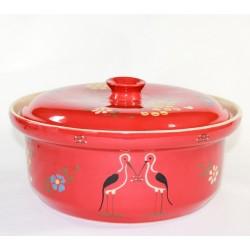 round pot red stork