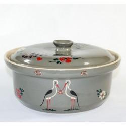round pot grey stork